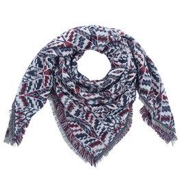 Wintersjaal Autumn Pattern vierkant grijs/bordeaux rood