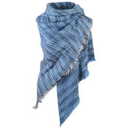 Wintersjaal Colour Stripes vierkant blauw
