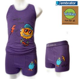 Embrator Jongens ondergoed set hemd&boxer La Skate paars 8-9 jaar