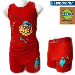 Embrator Jongens ondergoed set hemd&boxer La Skate rood 10-11 jaar