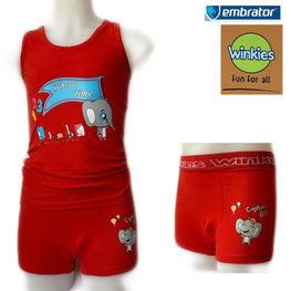 Embrator Jongens ondergoed set hemd&boxer School Time rood