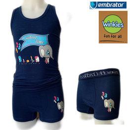 Embrator Jongens ondergoed set hemd&boxer School Time donkerblauw