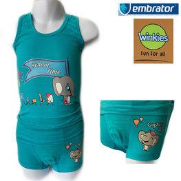Embrator Jongens ondergoed set hemd&boxer School Time turquoise 4-5 jaar