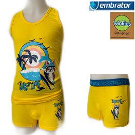 Embrator Jongens ondergoed set hemd&boxer Surftime geel 8-9 jaar