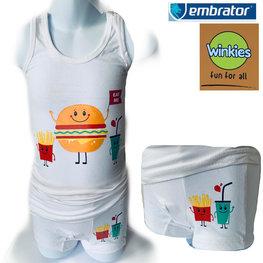 Embrator Jongens ondergoed set hemd&boxer Eat Me wit 2-3 jaar