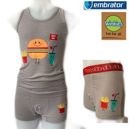 Embrator Jongens ondergoed set hemd&boxer Eat Me grijs