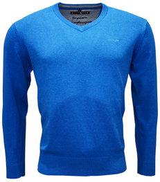 Dames V-hals trui mid blue melange alleen 38 en 40