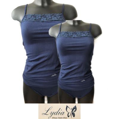 Lydia 2-pack Spaghetti hemdje met kant donkerblauw t/m 3XL