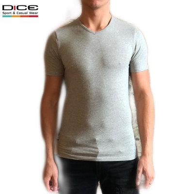 DICE T-shirt V hals Grijs gemêleerd