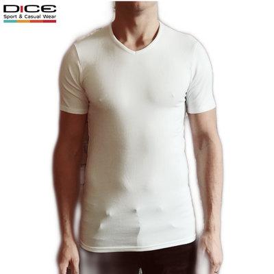 DICE T-Shirt V-hals Wit