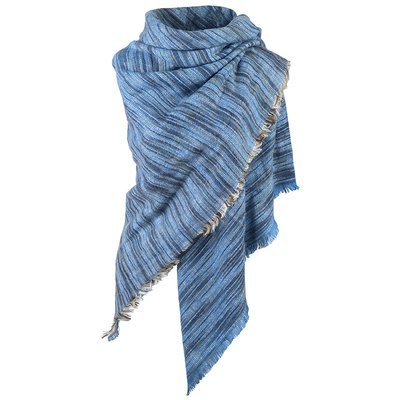 Wintersjaal Colour Stripes vierkant blauw