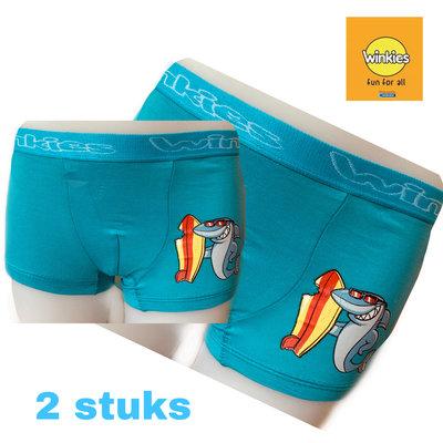 Embrator 2-pack jongens Boxershort met opdruk turquoise surf 2-3