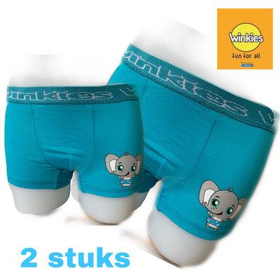 Embrator 2-pack jongens Boxershort met opdruk turquoise Olifant 4-5 jaar