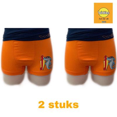 Embrator 2-pack jongens Boxershort met opdruk oranje Surf 6-7 jaar