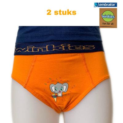 Jongens Slip met opdruk 2-stuks oranje Olifant 4-5 en 6-7 jaar