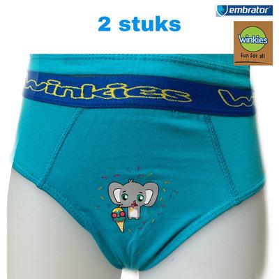 Jongens Slip met opdruk 2-stuks turquoise Olifant 6-7 jaar