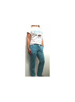 DICE huispak / pyjama Coffee Woman set blauw alleen nog maat S (Showmodel)