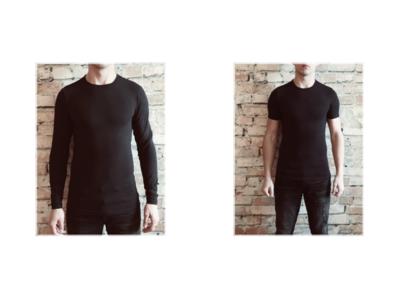 DICE heren T-shirt Lange + korte mouw ronde hals Combi zwart