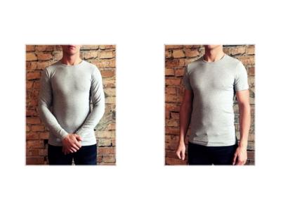 DICE heren T-shirt Lange + Korte mouw ronde hals Combi grijs