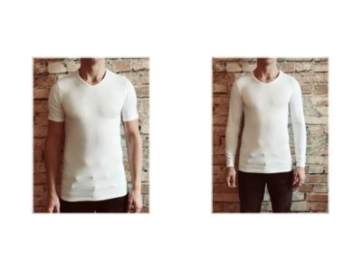 DICE heren T-shirt Lange + Korte mouw V-hals Combi wit