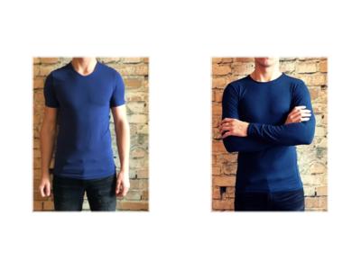 DICE heren T-shirt Lange + Korte mouw V-hals Combi blauw