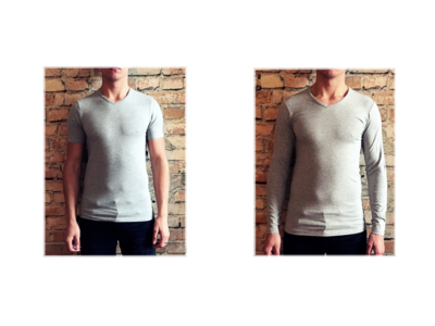 DICE heren Lange + Korte mouw V-hals T-shirt Combi grijs