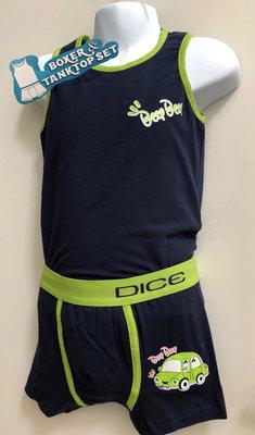 DICE Ondergoed set Hemd & Boxer Beep donker blauw/groen 10-11 jaar