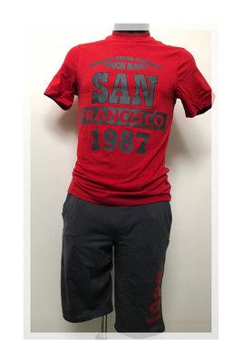 Dice Heren Huispak / Pyjama 2-delig Shirt&Short rood/grijs