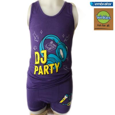 Embrator Jongens ondergoed set hemd+boxer DJ party paar 8-9 jaar