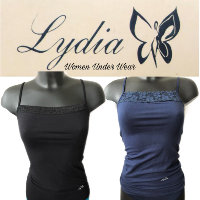 Lydia 2-pack Spaghetti hemdje met kant zwart/donker blauw