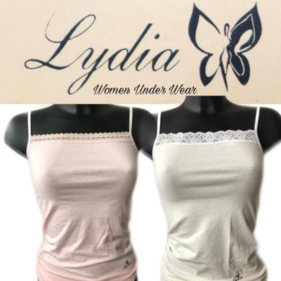 Lydia 2-pack Spaghetti hemdjes met kant licht roze/creme