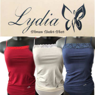 Lydia 3-pack Spaghetti hemdjes met kant rood/creme/blauw