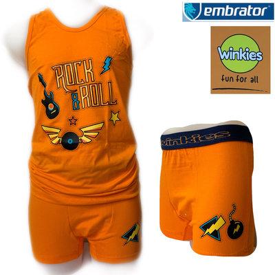 Embrator Jongens ondergoed set hemd&boxer Rock&Roll oranje 10-11 jaar