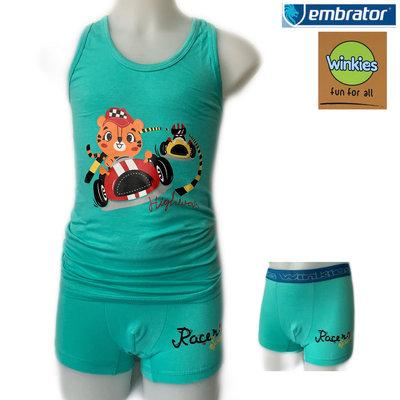 Embrator Jongens ondergoed set hemd&boxer Highway zeegroen