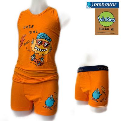 Embrator Jongens ondergoed set hemd&boxer La Skate oranje 10-11 jaar