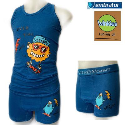 Embrator Jongens ondergoed set hemd&boxer La Skate blauw