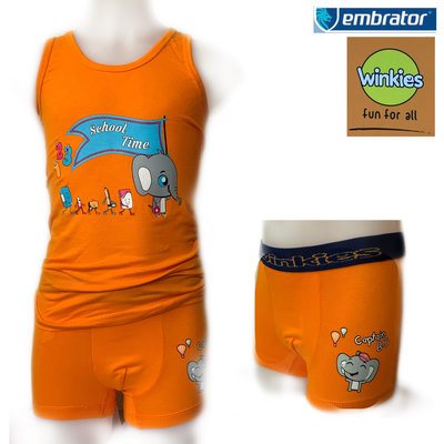 Embrator Jongens ondergoed set hemd&boxer School Time oranje 6-7 jaar