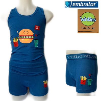 Embrator Jongens ondergoed set hemd&boxer Eat Me blauw