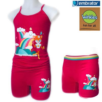 Embrator Meisjes ondergoed setje spaghetti+boxer Rainbow fuchsia