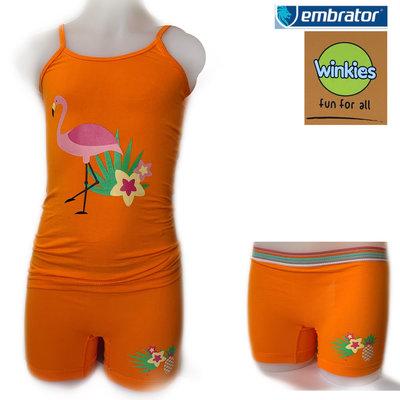 Embrator Meisjes ondergoed setje spaghetti+boxer Flamingo oranje