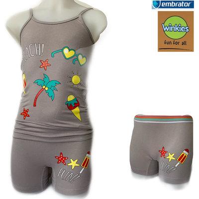 Embrator Meisjes ondergoed setje spaghetti+boxer Beach licht grijs