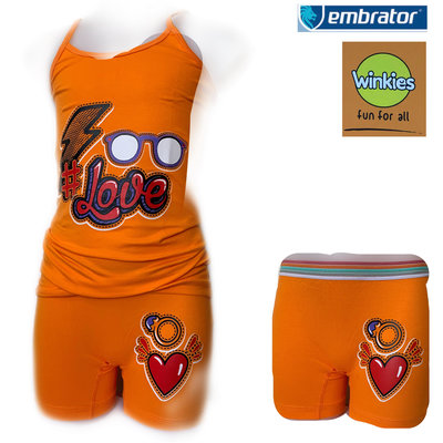Embrator Meisjes ondergoed setje spaghetti+boxer Love oranje 10-11 jaar