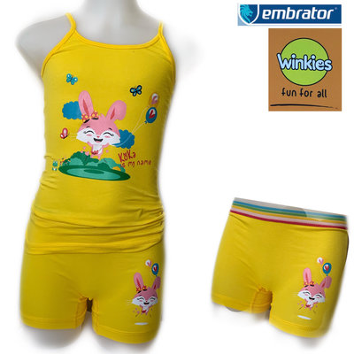 Embrator Meisjes ondergoed setje spaghetti+boxer Koka is my name geel