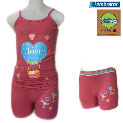 Embrator Meisjes ondergoed setje spaghetti+boxer Love donker oudroze