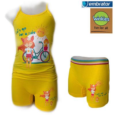 Embrator Meisjes ondergoed setje spaghetti+boxer For a Ride geel 8-9