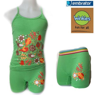 Embrator Meisjes ondergoed setje spaghetti+boxer Nature groen 10-11