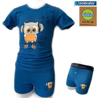 Embrator jongens ondergoed set t-shirt+boxer Music blauw