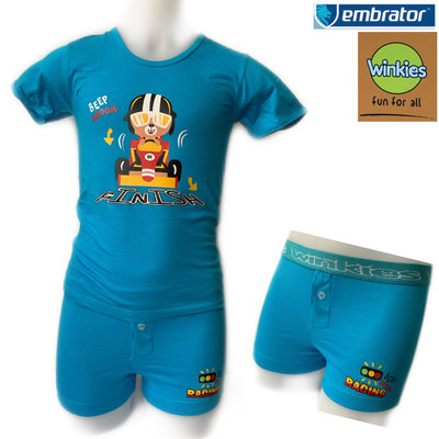 Embrator jongens ondergoed set t-shirt+Boxer Finish blauw