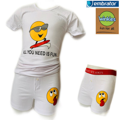 Embrator Jongens ondergoed set t-shirt+boxer Fun wit