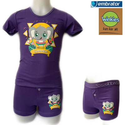Embrator Jongens ondergoed set t-shirt-boxer Hello Summer paars
